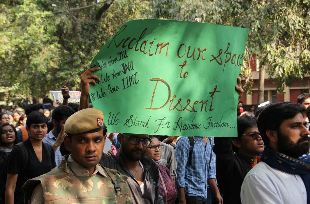 Students from various colleges of Delhi University participated in the protest against the violence perpetrated in Ramjas College. Photo: Bhavana Gaur