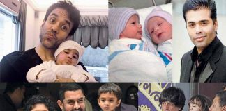 (Clockwise from top left) Tusshar Kapoor, Karan Johar, Aamir Khan and Shah Rukh Khan have had children through surrogate mothers