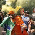 Celebrations at the BJP headquarters in Delhi. Photo: Anil Shakya