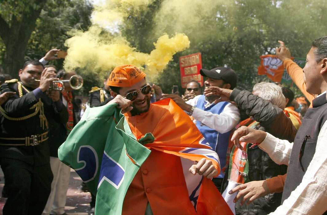 Celebrations at the BJP headquarters in Delhi. Photo: Anil Shakya