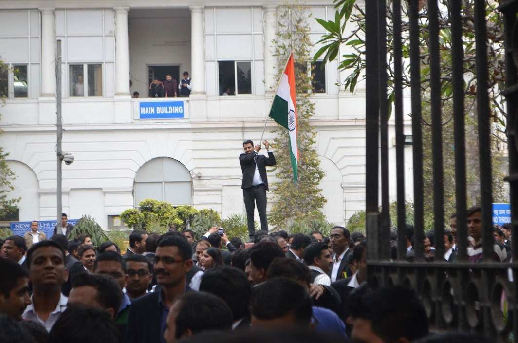 Lawyers raising slogans during a protest march in New Delhi. Photo: UNI