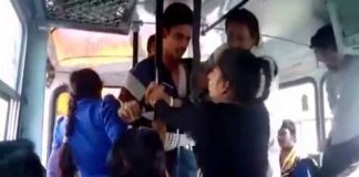 A still from the video that shows two girls beating up three boys in Sonepat in November 2014