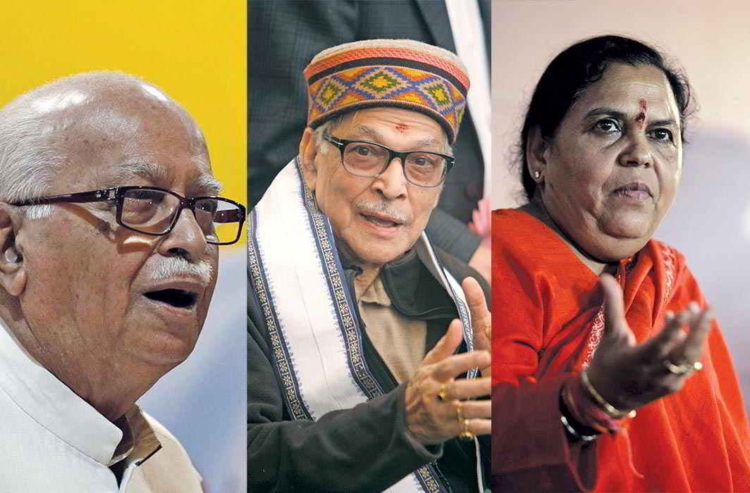 The apex court has found fault with the order exonerating (from left) LK Advani, MM Joshi and Uma Bharti in the Babri Masjid case