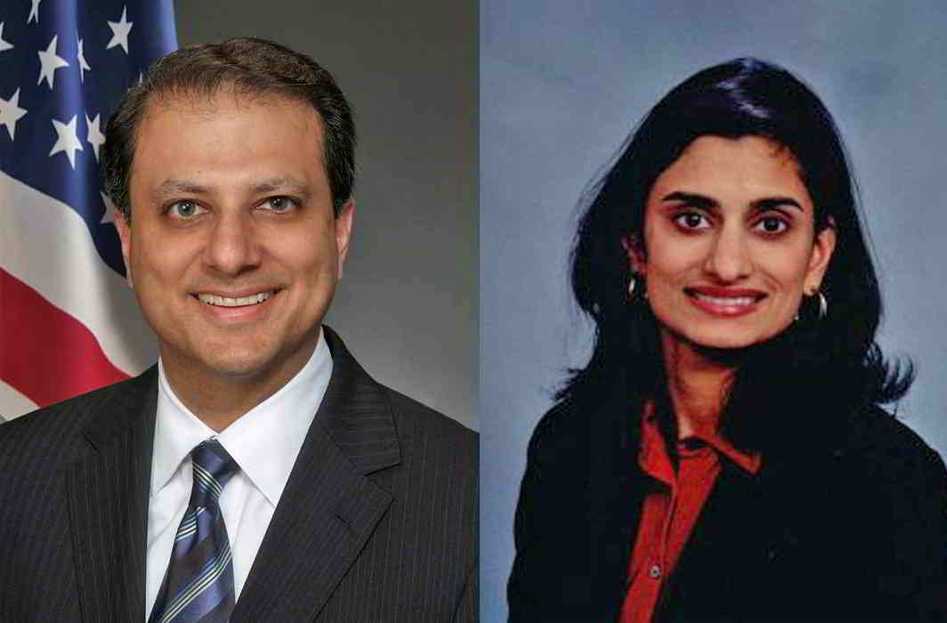 (L-R) Preet Bharara, US Attorney for the Southern District of New York was fired by the Trump Administration; and Seema Verma was elected by the Trump administration to head the government health insurance programmes recently. It is believed that Verma will play a key role in repealing the Obamacare. Photo: LinkedIn