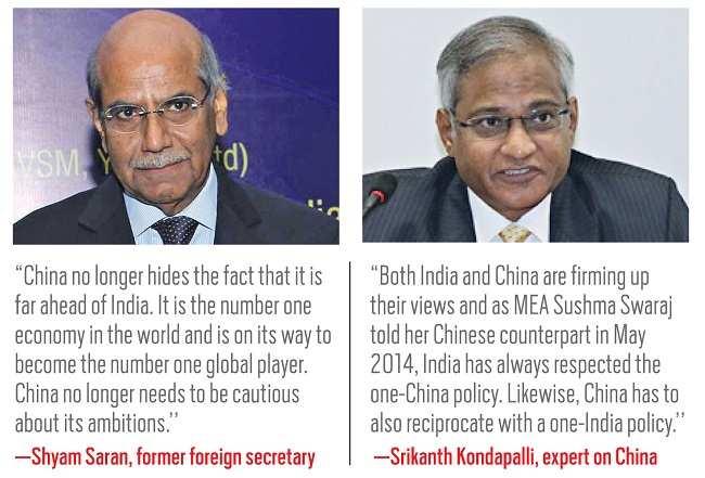 (L-R) Shyam Saran, former foreign minister; Srikanth Kondapalli, expert on china