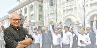Lawyers of the Patna High Court staging a demonstration in protest against the proposed Advocates Amendment Bill on March 31. Photo: UNI