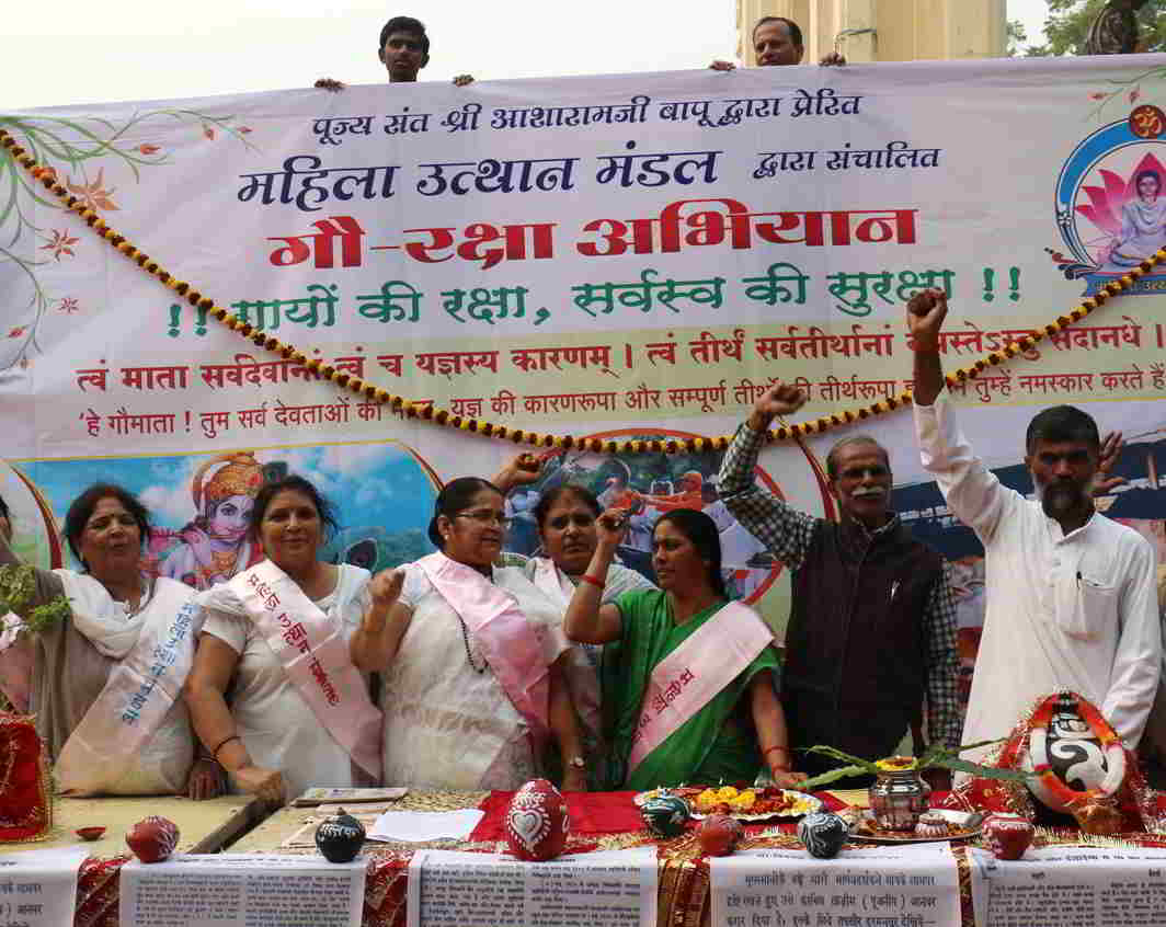 Members of the Mahila Uthan Mandal shouting slogans against cow slaughter in Lucknow. Photo: UNI