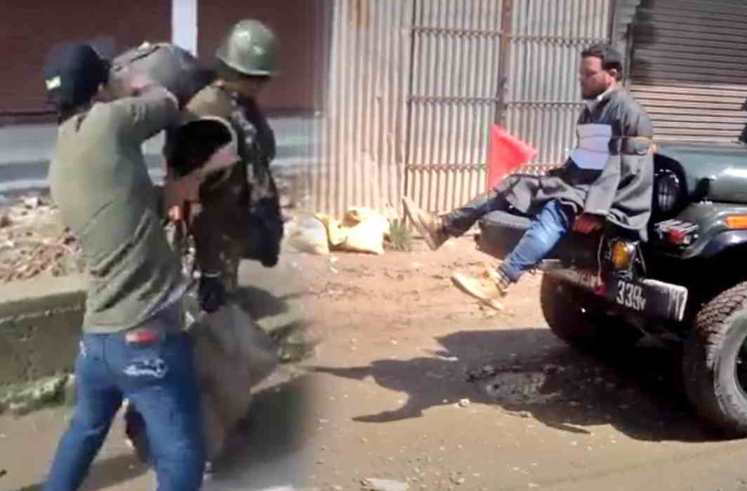 (L-R) A TV grab shows a Kashmiri youth assaulting a CRPF Jawan; a Kashmiri man tied to the hood of an army jeep as 'protection'