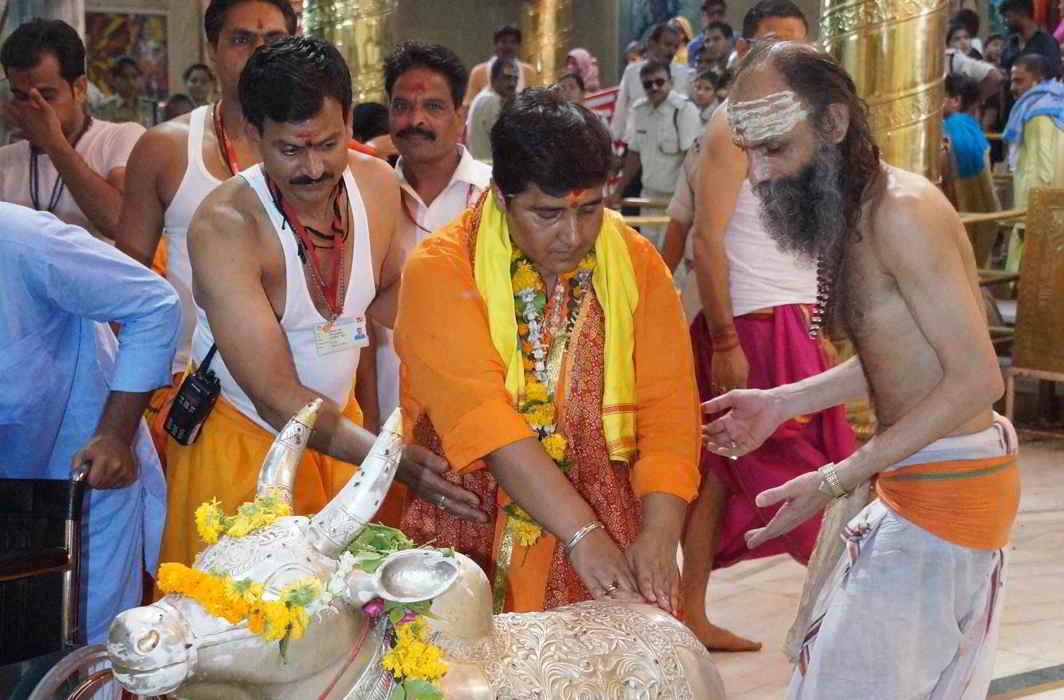A file picture of Sadhvi Pragya Thakur, an acccused in Malegaon blast case offering worship at Mahakaleshwar temple in Ujjain. Photo: UNI
