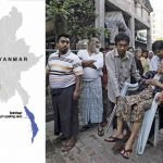 (L-R) A map of Myanmar showing some linguistic areas; voters line up during the general elections in 2015 in a mixed Muslim, Buddhist and Hindu neighbourhood. Photo: UNI