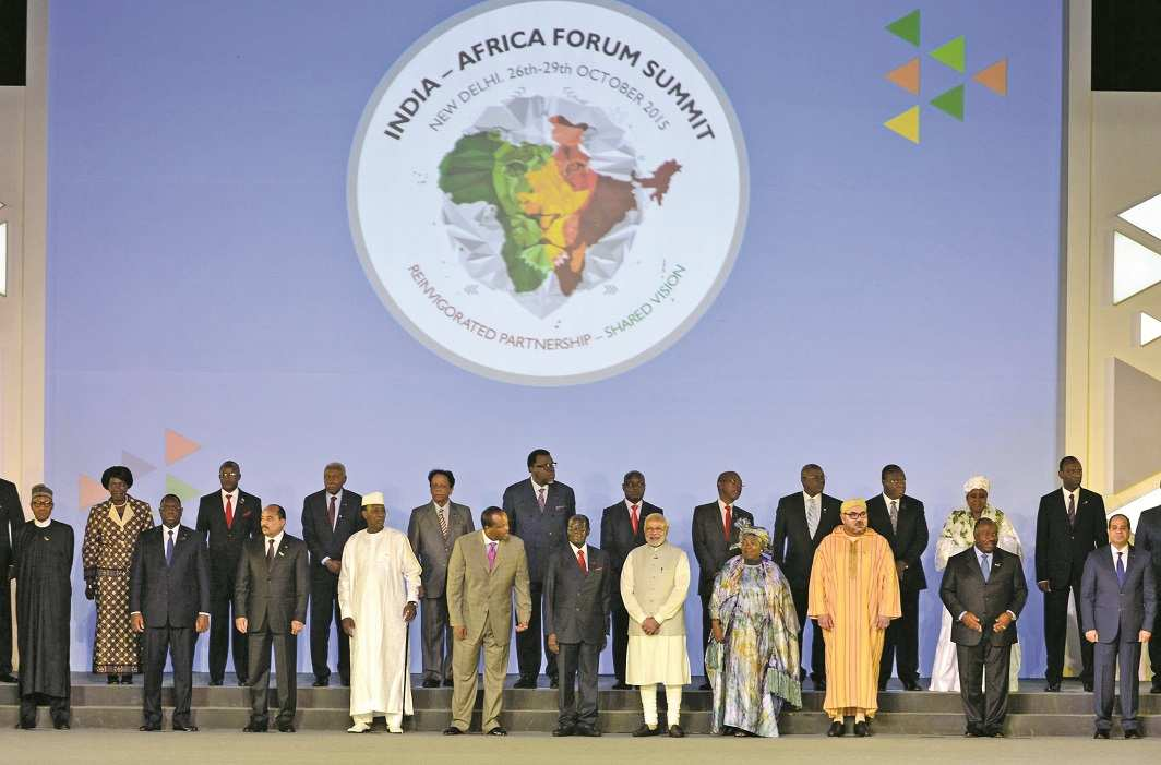 Prime Minister Narendra Modi and leaders of African nations at the inaugural ceremony of the Third India- Africa Forum Summit in Delhi in 2015. Photo: UNI