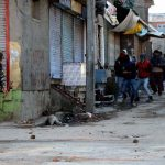 Security forces and stone pelters fighting a pitched battle during intense clashes that erupted at Soura in Srinagar in February