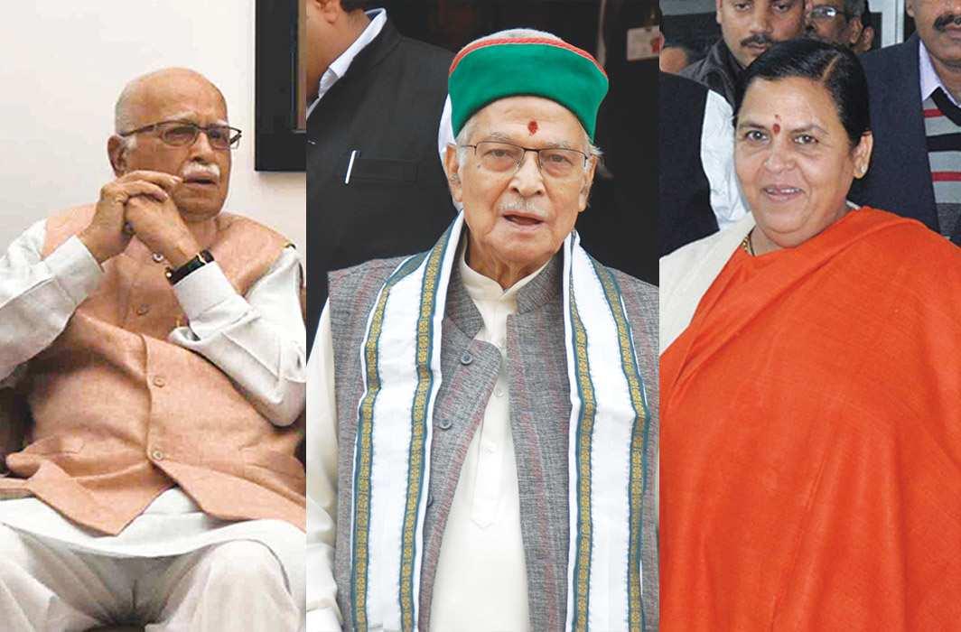 (L-R) LK Advani, MM Joshi and Uma Bharati
