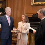 Chief Justice of the United States John Roberts (right) administers the constitutional oath to judge Neil Gorsuch during a private ceremony at the Supreme Court in Washington, US. Photo: UNI