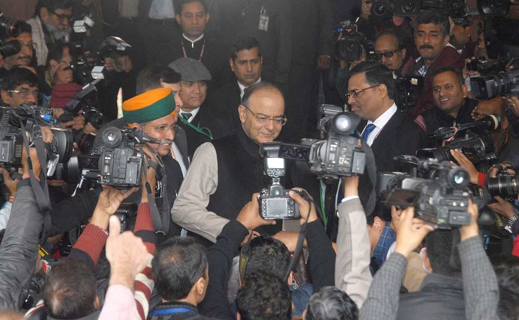 Finance Minister Arun Jaitley before presenting the Budget for 2017-18 in Parliament. Photo: UNI