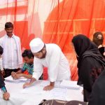 All India Muslim Personal Law Board organised a signature campaign in Lucknow to protest against the centre's petition on triple talaq. Photo: UNI