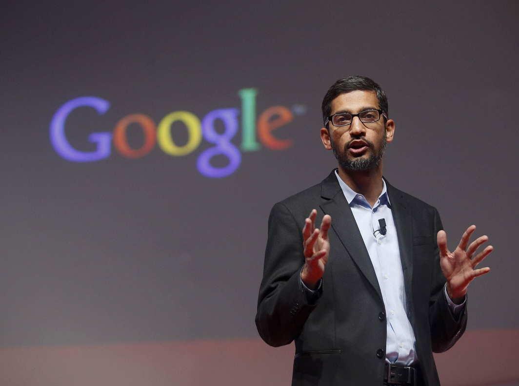 Sundar Pichai, Google's CEO during a presentation at the Mobile World Congress in Barcelona in 2015. Photo: UNI