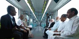 Prime Minister Narendra Modi and other dignitaries take a ride on Kochi Metro, in Kerala on Saturday. Photo: UNI