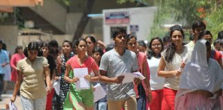 Students come out after appearing in NEET exam 2017 in Nagpur. Photo: UNI