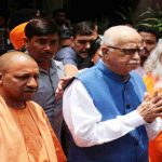 UP CM Yogi Adityanath with Advani in Lucknow. Photo: UNI