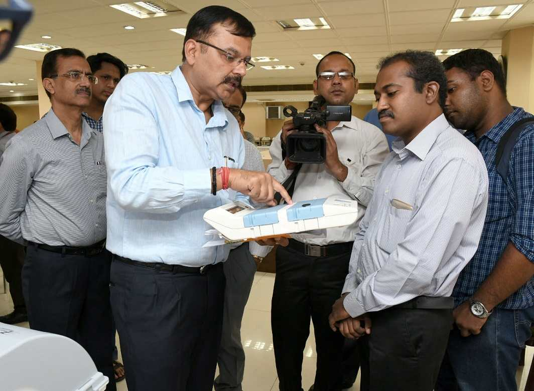 A political party delegation being explained about the process of 'Setting of Candidates' on EVM machines, during a detailed demonstration in New on June 03, 2017. Photo: UNI