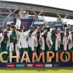 The Pakistan team with the Champions Trophy 2017 after walloping India. Photo: UNI