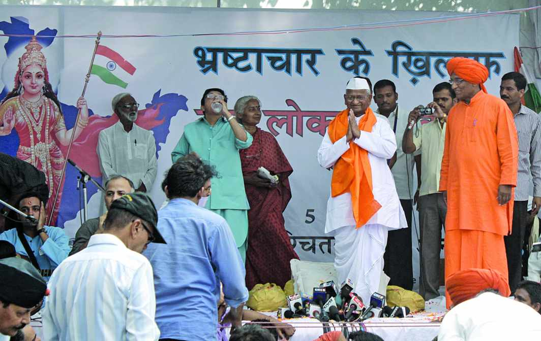 In 2011, Hazare went on an indefinite fast to push for the passing of the Lokpal bill. Photo: Anil Shakya