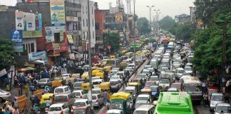 A traffic jam at Laxmi Nagar in New Delhi