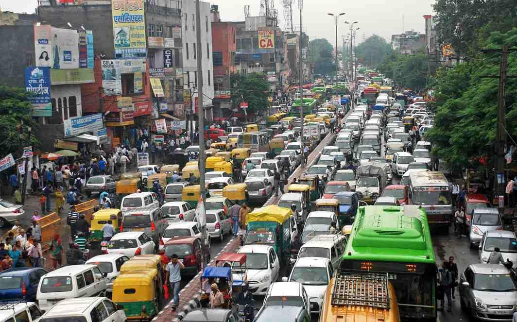 A traffic jam at Laxmi Nagar in New Delhi
