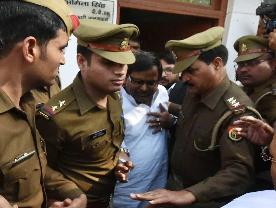 Gayatri Prajapati arrested by police in Lucknow. Photo: UNI