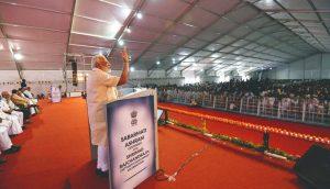 Prime Minister Narendra Modi addressing a gathering at the Sabarmati Ashram, Ahmedabad on June 29, 2017. Photo: PIB
