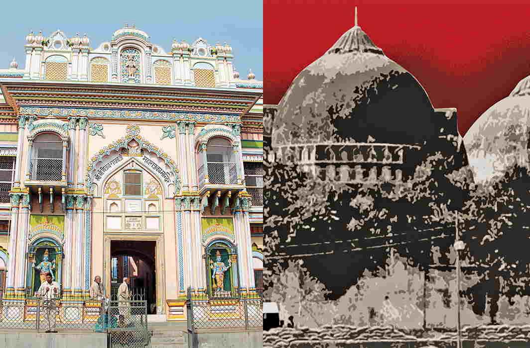 (L-R) The Vijayraghav Mandir in Ayodhya and the disputed Babri masjid