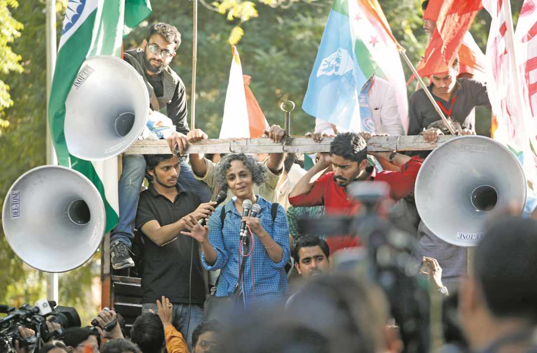 Arundhati Roy participates in a rally supporting Kanhaiya Kumar in 2016. Photo: Anil Shakya