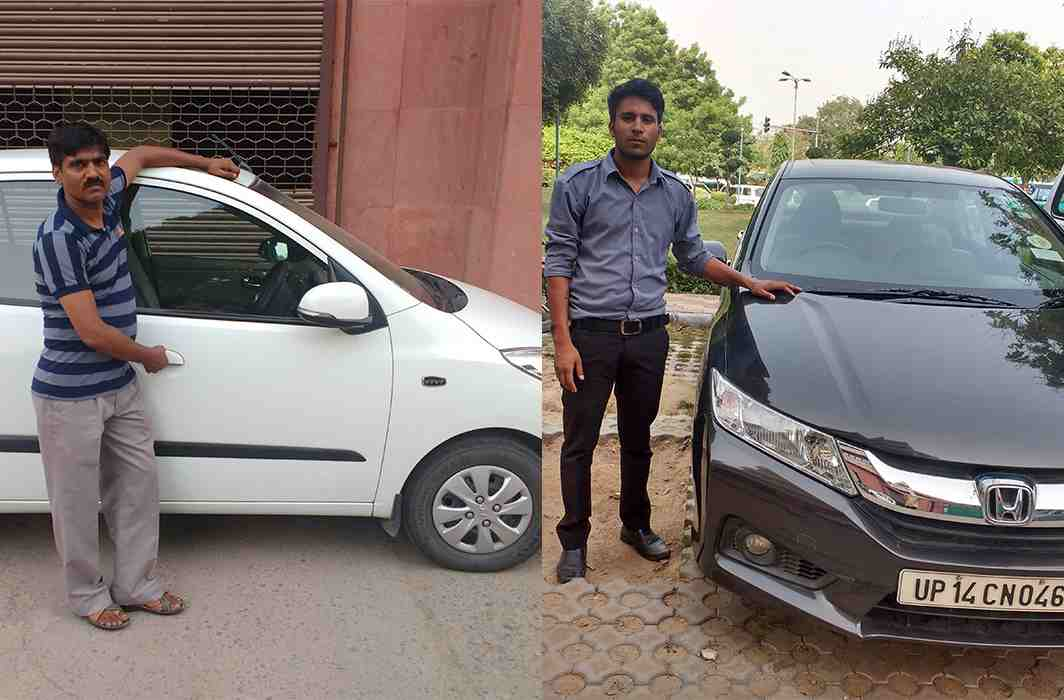 (L-R) Cab drivers Rakesh Kumar(Left) and Harry Prasad(Right) are amongst those drivers who are worried about the new rule. Photo: Mrinal Verma