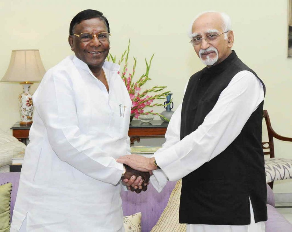 Puducherry CM V Narayanasami with Vice-President Hamid Ansari. There has been constant friction between the CM and L-G Kiran Bedi. Photo: UNI