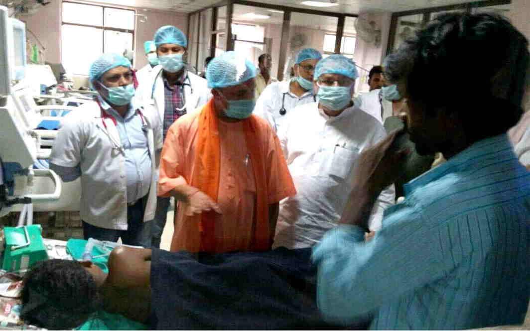 Uttar Pradesh Chief Minister Yogi Aditiyanath inspecting children ward at BRD medical college in Gorakhpur. Photo: UNI
