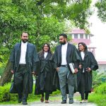 Lawyers wearing the customary black robes, black trousers and white shirts. Photo: Anil Shakya