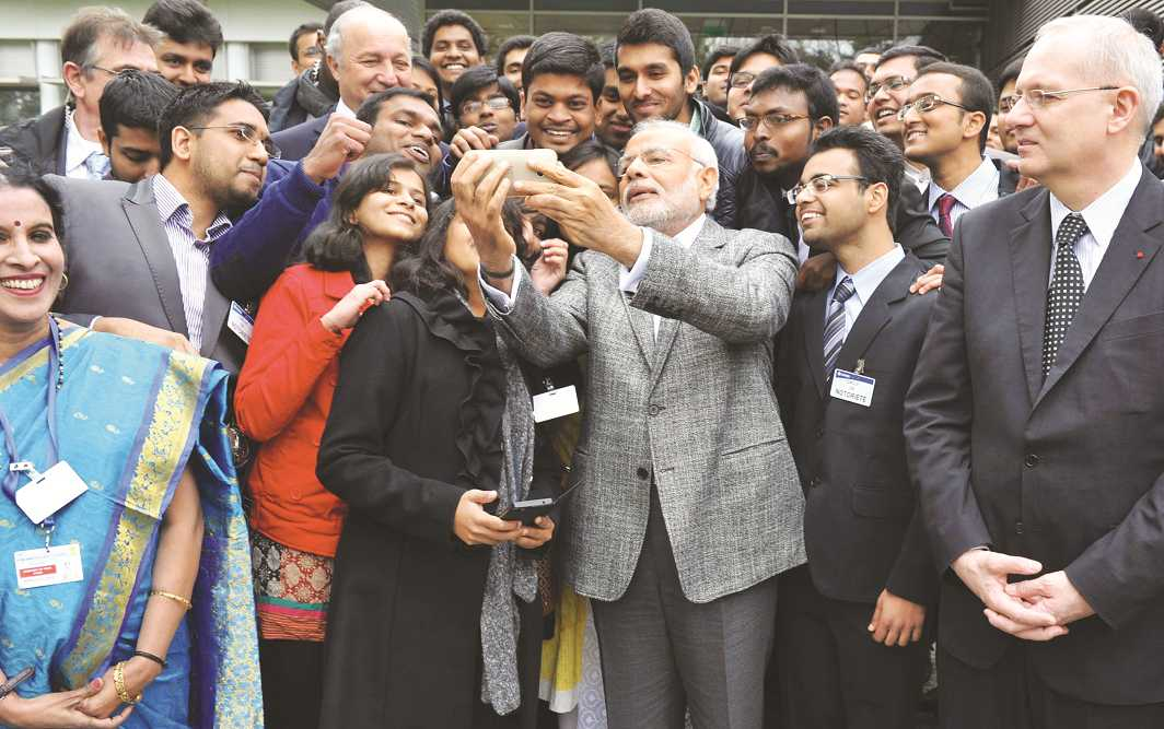 Prime Minister Narendra Modi interacting with Indian students in France in April 2015. Photo: UNI