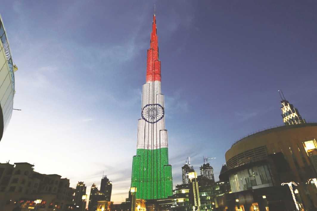 Indian Republic Day celebrated at Burj Khalifa in Dubai this January. Photo: Twitter