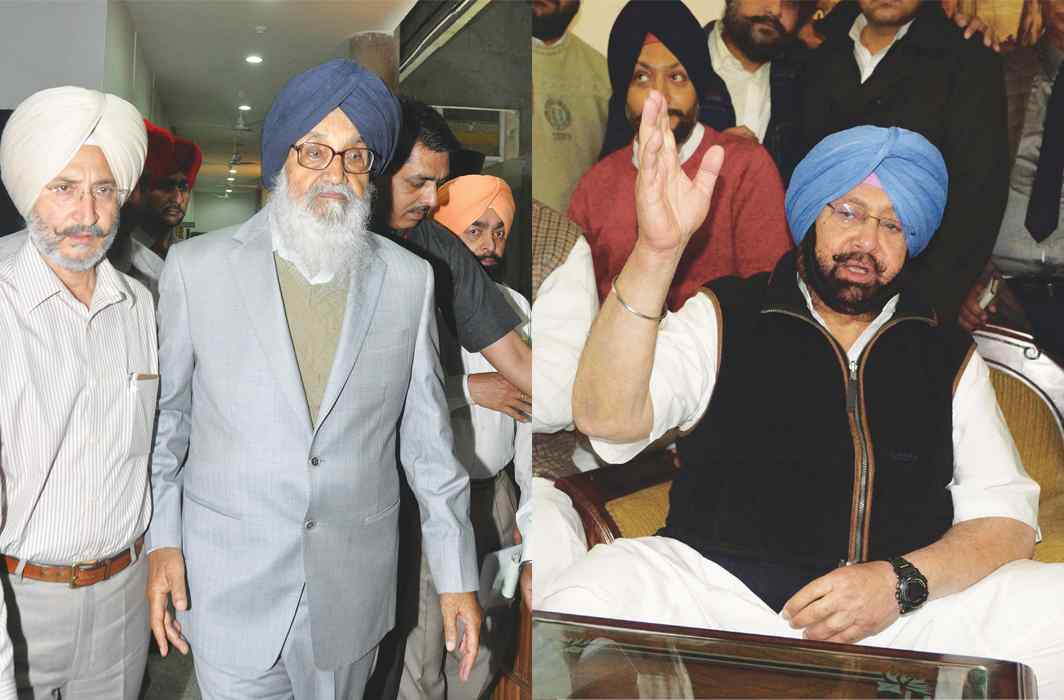 Parkash SinghBadal and Capt Amarinder Singh have been rather soft on each other in corruption cases. Photo: UNI