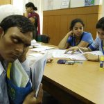 A visually impaired student at helpdesk in DU (representational picture). Photo: Anil Shakya