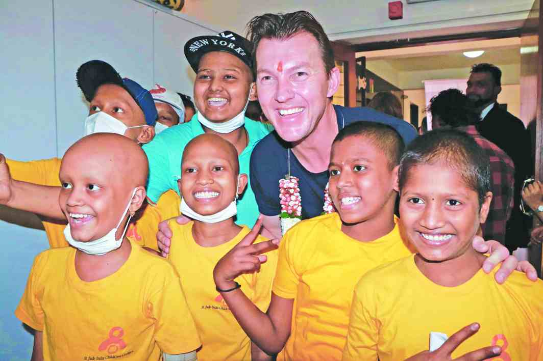 Former Australian cricketer Brett Lee with cancer patients at St Jude India Child Care Centre in Mumbai. Photo: UNI