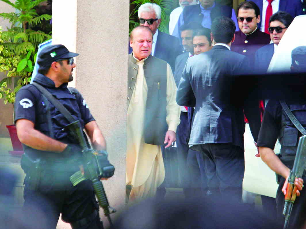 Nawaz Sharif was punished for not declaring an amount of 10,000 dirhams in his nomination papers for the 2013 elections. The judges said it was of no consequence that Sharif had not withdrawn the money. Photo: UNI