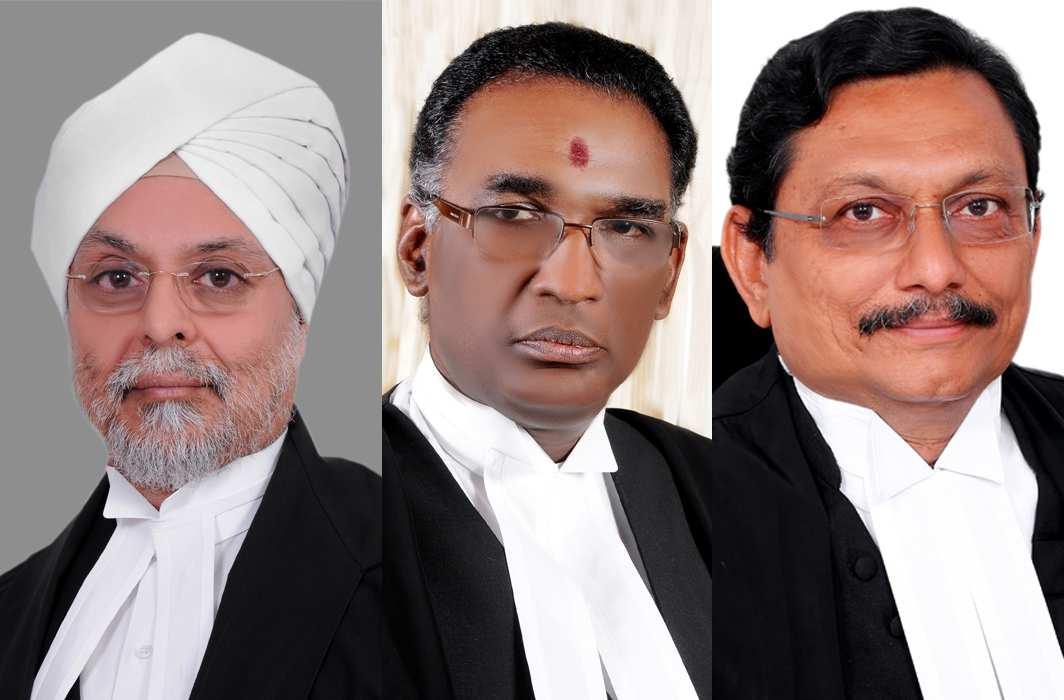 Chief Justice JS Khehar, Justice J Chelameswar and Justice SA Bobde. Photo: JS Studio