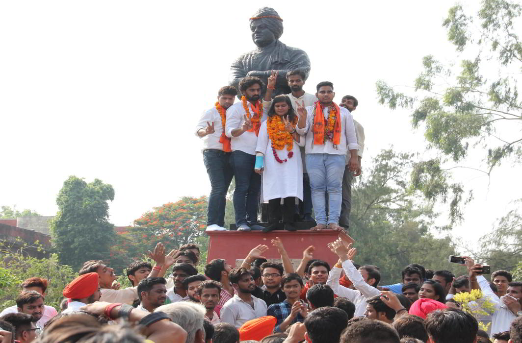 ABVP candidates celebrating after winning two posts in the Delhi University Students Union election, in New Delhi (file picture). Photo: UNI