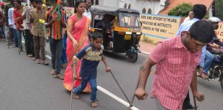 Disabled children participating in a rally on the occasion of World Disabled (file picture).Photo: UNI
