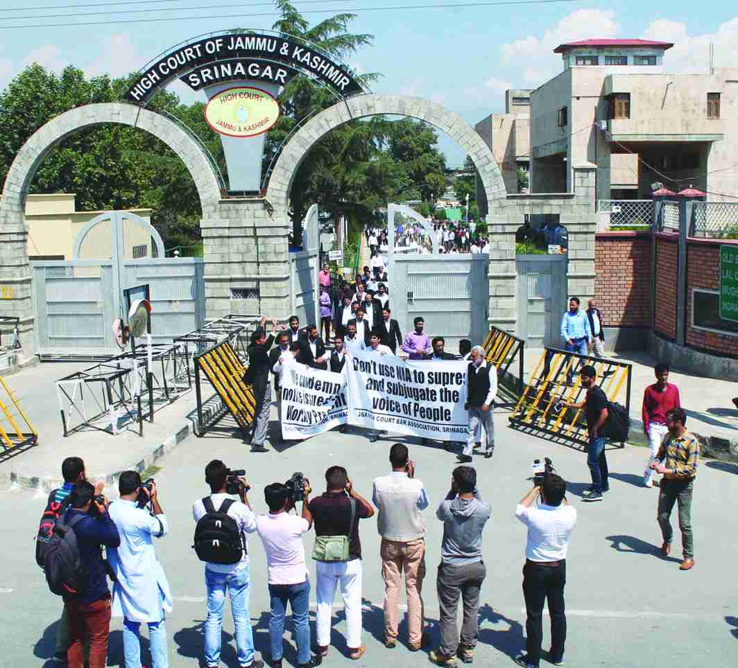 Lawyers protesting outside the Jammu and Kashmir High Court in Srinagar. Photo: UNI
