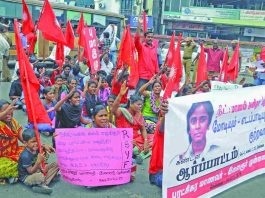 Protests broke out in Tamil Nadu when Anita ended her life after she failed to clear the NEET. Photo: UNI