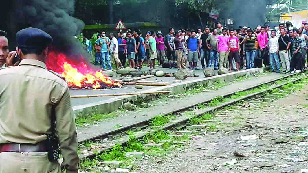 GJM activists during a demonstration in support of their demands for a separate Gorkhaland state. Photo: UNI