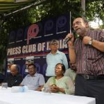 Senior journalist Paranjoy Guha Thakurta speaking at a protest/condolence function for slain Editor Gauri Lankesh at the Press Club in Delhi on September 6. Photo: Bhavana Gaur